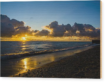 Wood Print featuring the photograph Sunrise Lake Michigan September 2nd 2013 004 by Michael  Bennett
