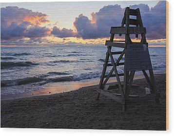 Wood Print featuring the photograph Sunrise Lake Michigan September 2nd 2013 005 by Michael  Bennett