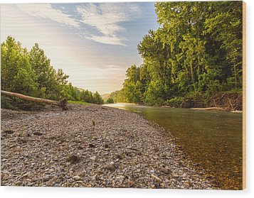 Sunrise Light On Buffalo River Wood Print by Bill Tiepelman