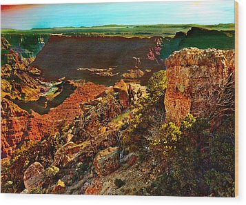 Sunrise Lipan Point Grand Canyon Wood Print by Bob and Nadine Johnston
