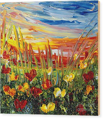 Wood Print featuring the painting Sunrise Meadow   by Teresa Wegrzyn