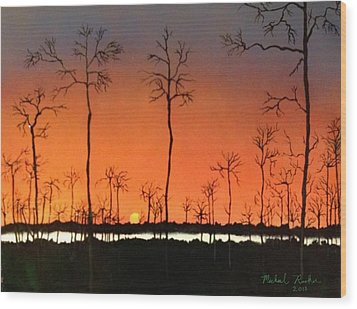 Wood Print featuring the painting Sunrise by Michael Rucker