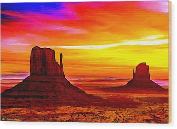 Sunrise Monument Valley Mittens Wood Print by Bob and Nadine Johnston
