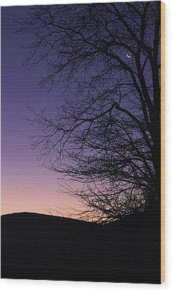 Sunrise Moon Wood Print