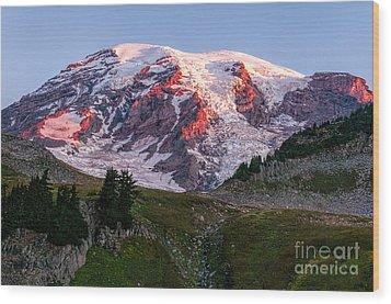 Sunrise Mt Rainier Wood Print by Sharon Seaward