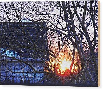 Sunrise Next Door Wood Print by Sarah Loft