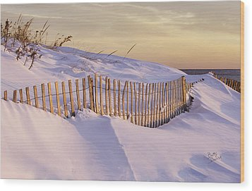 Sunrise On Beach Fence Wood Print by Betty Denise