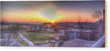 Sunrise On Campus Wood Print