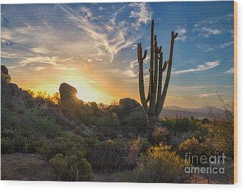 Sunrise On Granite Mountain Wood Print