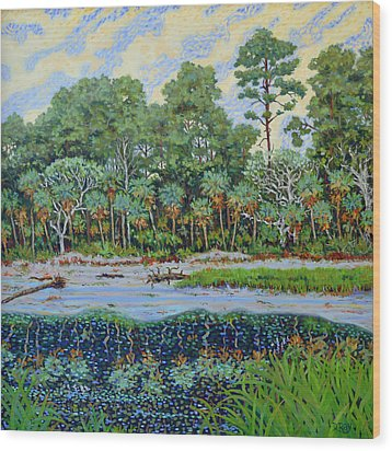 Wood Print featuring the painting Sunrise On Hunting Island Lagoon by Dwain Ray