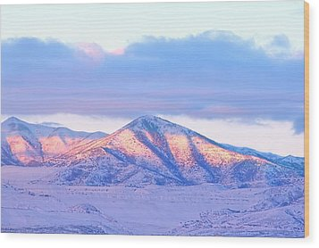 Sunrise On Snow Capped Mountains Wood Print by Tracie Kaska