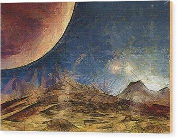 Sunrise On Space Wood Print by Ayse Deniz