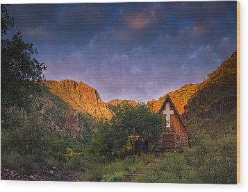 Sunrise On The Chapel Wood Print by Aaron Bedell