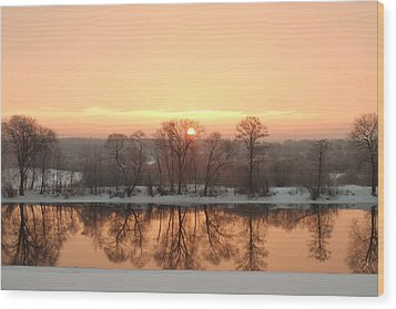 Sunrise On The Ema River Wood Print