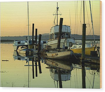Sunrise On The Petaluma River Wood Print by Bill Gallagher