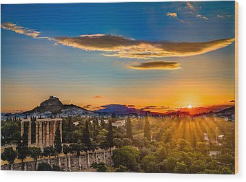 Sunrise On The Temple Of Olympian Zeus Wood Print