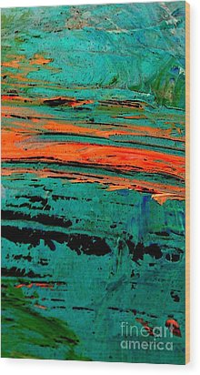 Wood Print featuring the painting Sunrise On The Water by Jacqueline McReynolds