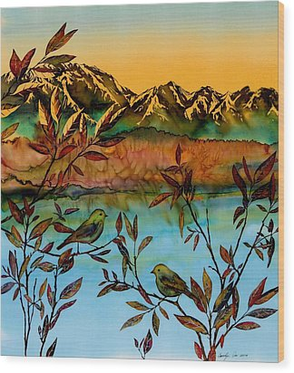 Sunrise On Willows Wood Print by Carolyn Doe