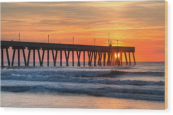Sunrise On Wrightsville Beach Nc Wood Print