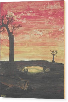 Wood Print featuring the painting Sunrise Or Sunset by Martin Blakeley