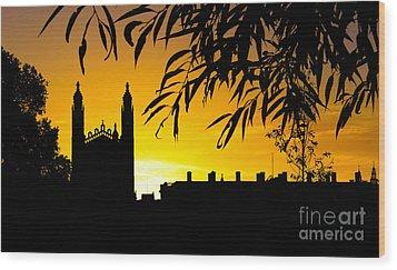 Sunrise Over Cambridge Wood Print by David Warrington