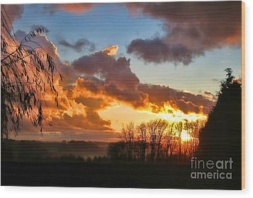 Sunrise Over Countryside Wood Print by Olivier Le Queinec