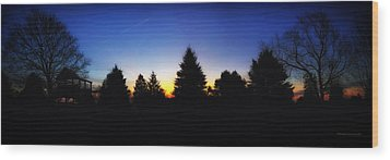 Sunrise Over East Lawn Panorama Wood Print by Thomas Woolworth