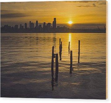 Sunrise Over Elliott Bay Wood Print