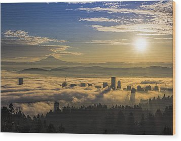 Sunrise Over Foggy Portland Wood Print