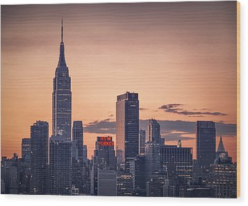 Manhattan Sunrise Wood Print by Eduard Moldoveanu