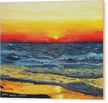 Wood Print featuring the painting Sunrise Over Paradise by Shana Rowe Jackson