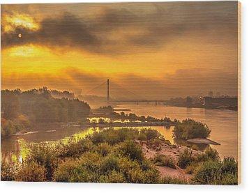 Sunrise Over Swiatokrzyski Bridge In Warsaw Wood Print by Julis Simo