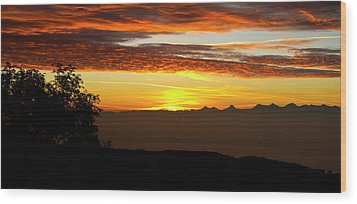 Sunrise Over The Alps Wood Print