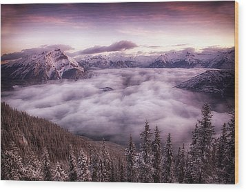 Sunrise Over The Canadian Rockies Wood Print