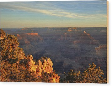 Sunrise Over Yaki Point At The Grand Canyon Wood Print by Alan Vance Ley