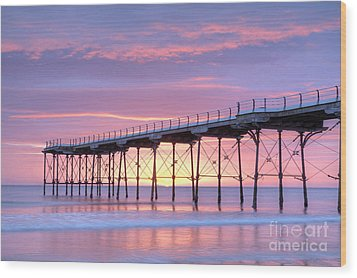 Sunrise Pier Wood Print by Colin and Linda McKie