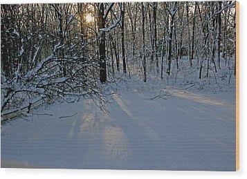 Sunrise Reflected On Snow Wood Print