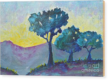 Sunrise Wood Print by Shirin Shahram Badie