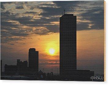Sunrise Silhouette Buffalo Ny V2 Wood Print by Michael Frank Jr