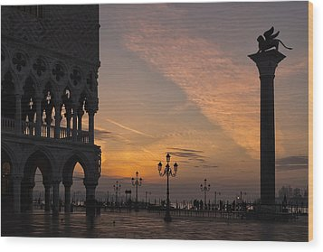 Sunrise St Mark's Square Wood Print by Marion Galt