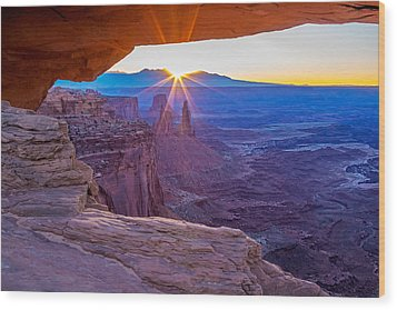 Sunrise Through Mesa Arch Wood Print