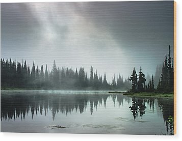 Sunrise Through The Mist Wood Print by Brian Xavier
