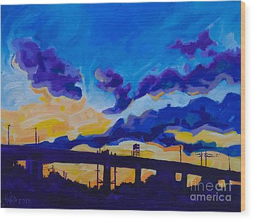 Sunrise Under The Overpass Wood Print by Michael Ciccotello