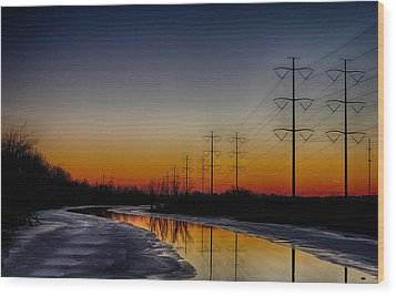 Wood Print featuring the photograph Sunrise Winter Reflection by Jerome Lynch