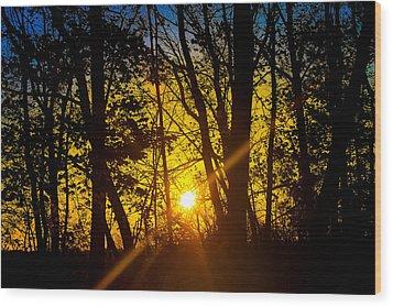 Sunrise With Blue - Horizontal Wood Print