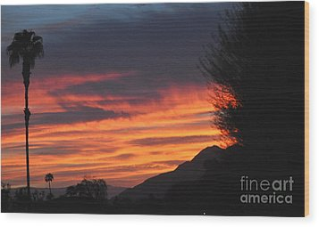 Sunrise With Lone Sentinel Over Desert Wood Print