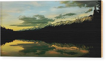 Sunset 1 Rainy Lake Wood Print