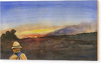 Sunset 18 Fires Wood Print