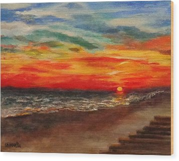 Sunset After Sandy Wood Print by Annie St Martin