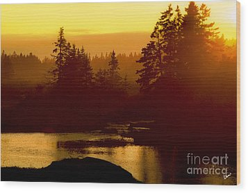 Sunset Wood Print by Alana Ranney